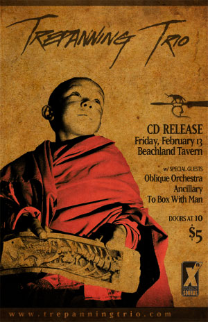 Trepanning Trio CD Release Show at Beachland Tavern on Friday, February 13th